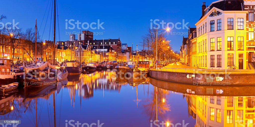 The city of Groningen, The Netherlands at night stock photo