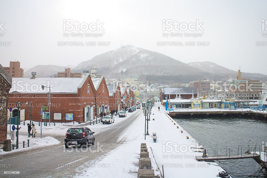 The city of Hakodate in the twilight stock photo