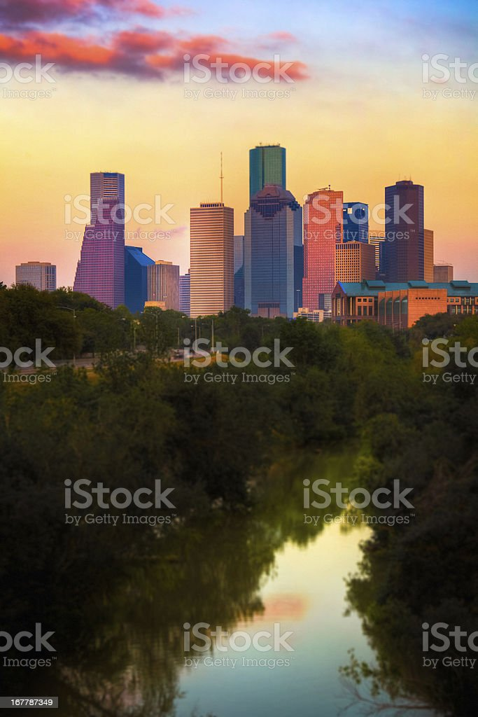 The city of Houston skyline by the water stock photo