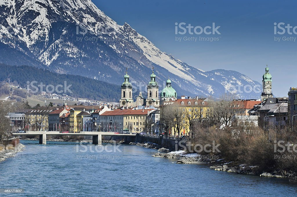 The city of Innsbruck next to the mountains stock photo