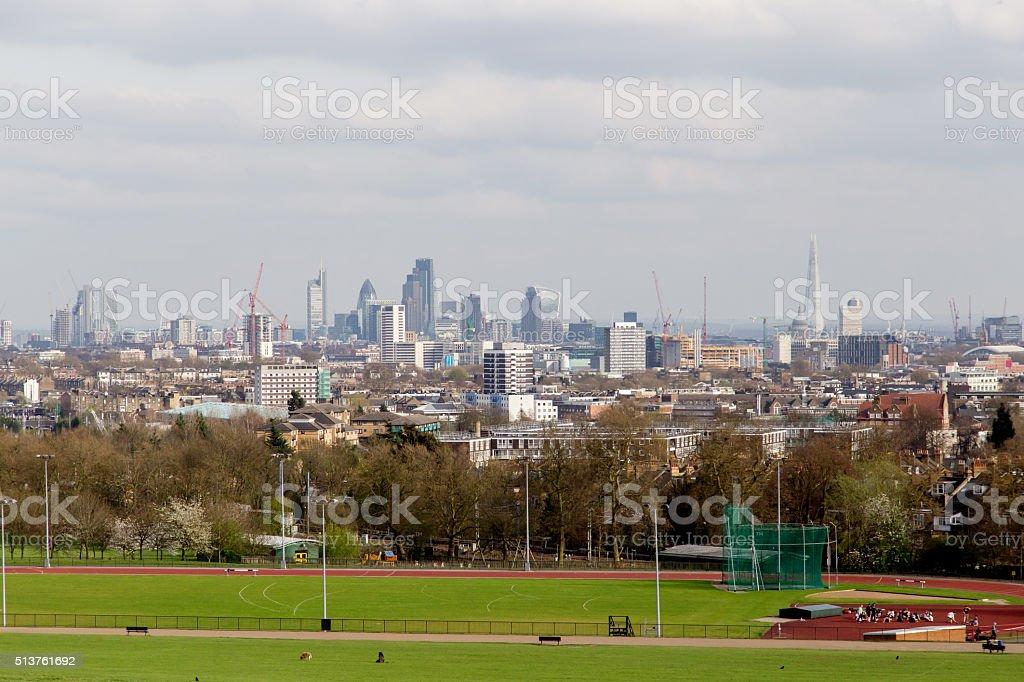The City of London Cityscape from Hampstead Heath. stock photo