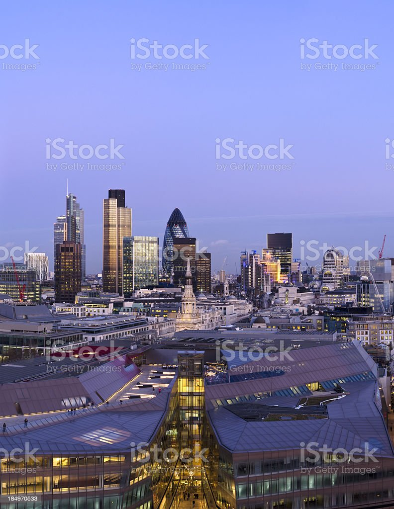 The City of London, dusk royalty-free stock photo