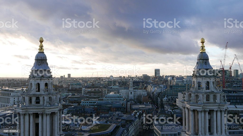 The City of London in the evening aerial view from Lizenzfreies stock-foto