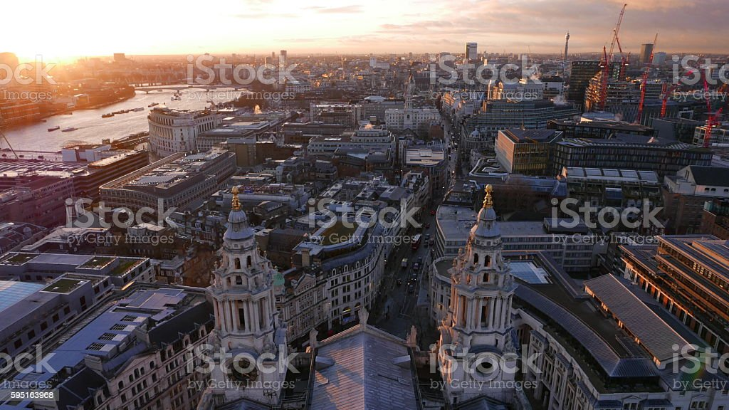 The City of London in the evening aerial view Lizenzfreies stock-foto