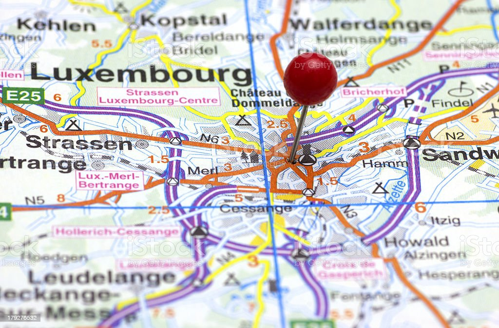 The City of Luxembourg on a Map royalty-free stock photo