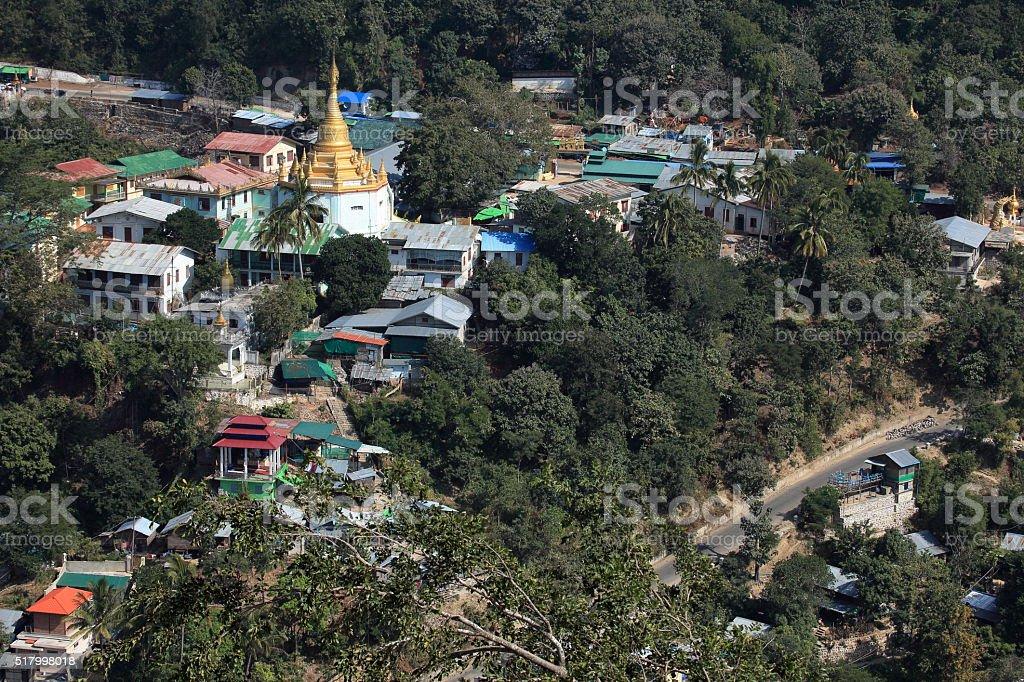 The city of Mount Popa in Myanmar stock photo