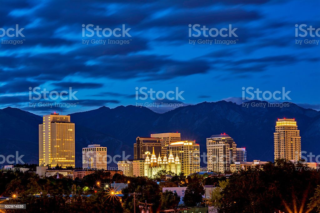 The city of Salt lake city in the morning stock photo