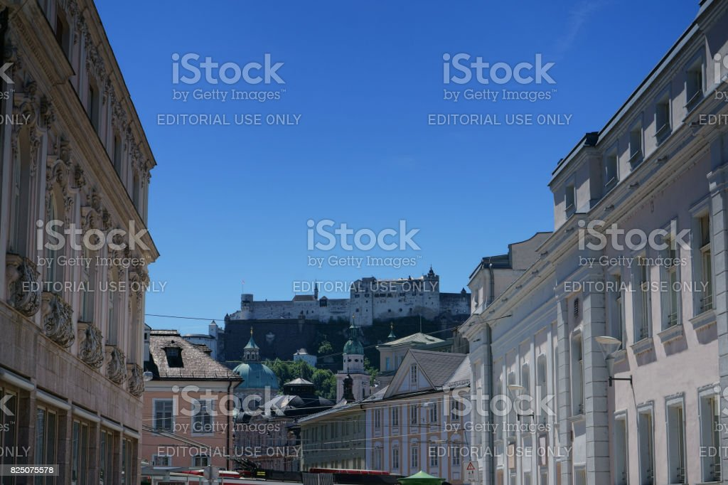 The city of Salzburg in Austria with Festung Hohensalzburgin the background stock photo