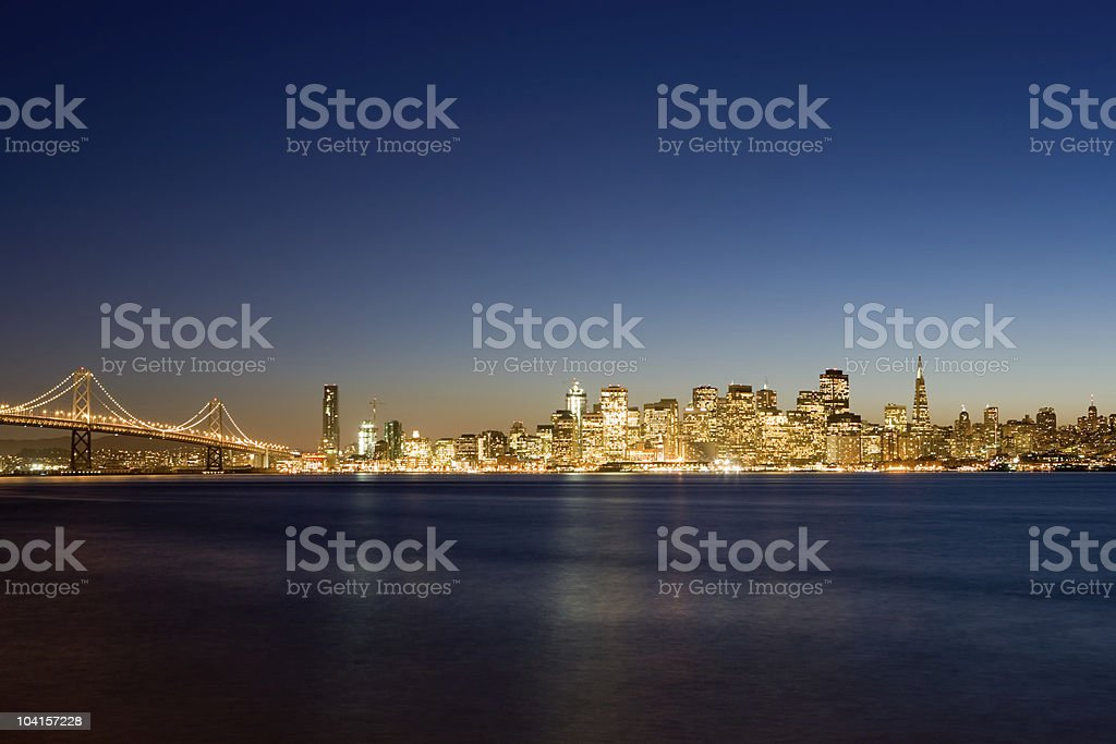 The city of San Francisco in the early hours of night royalty-free stock photo