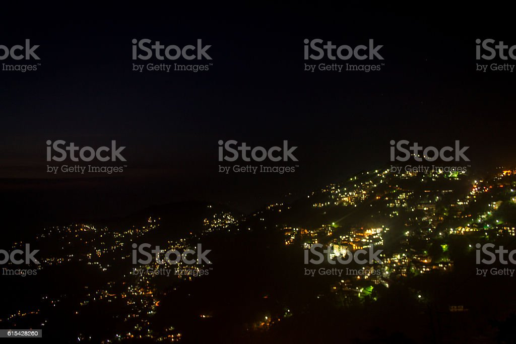 The city of Shimla during night stock photo