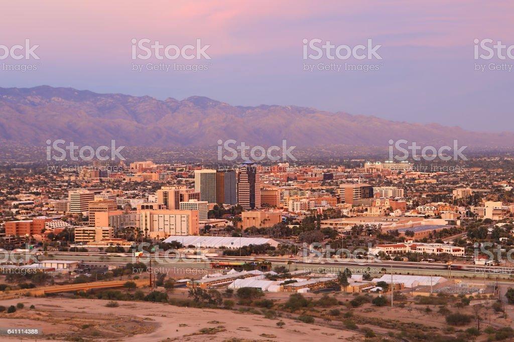 The city of Tucson at dusk stock photo