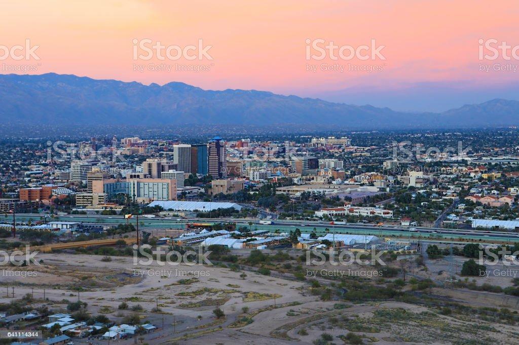 The city of Tucson at twilight stock photo