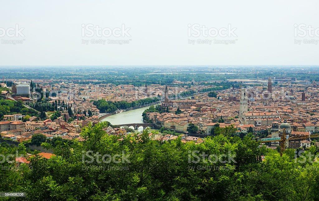 The city of Verona Italy - aerial view Lizenzfreies stock-foto
