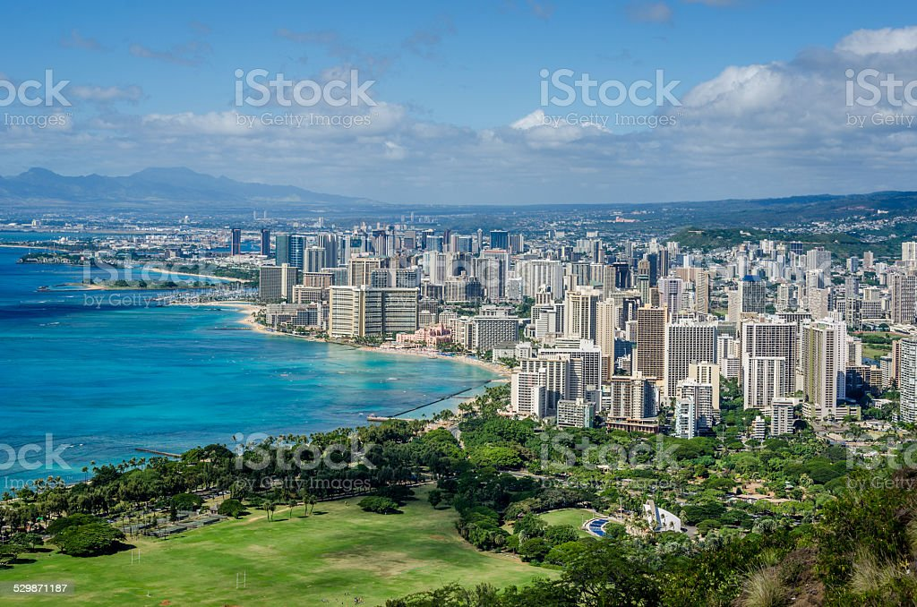 The city of Waikiki, Honolulu stock photo