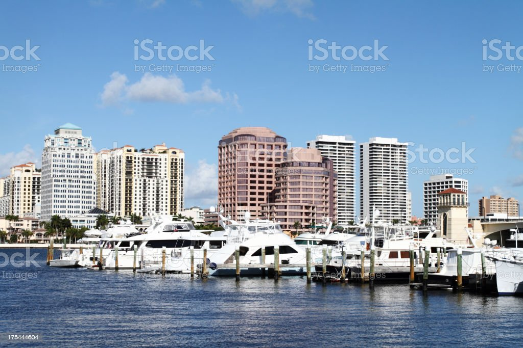 The city of West Palm Beach by the water stock photo