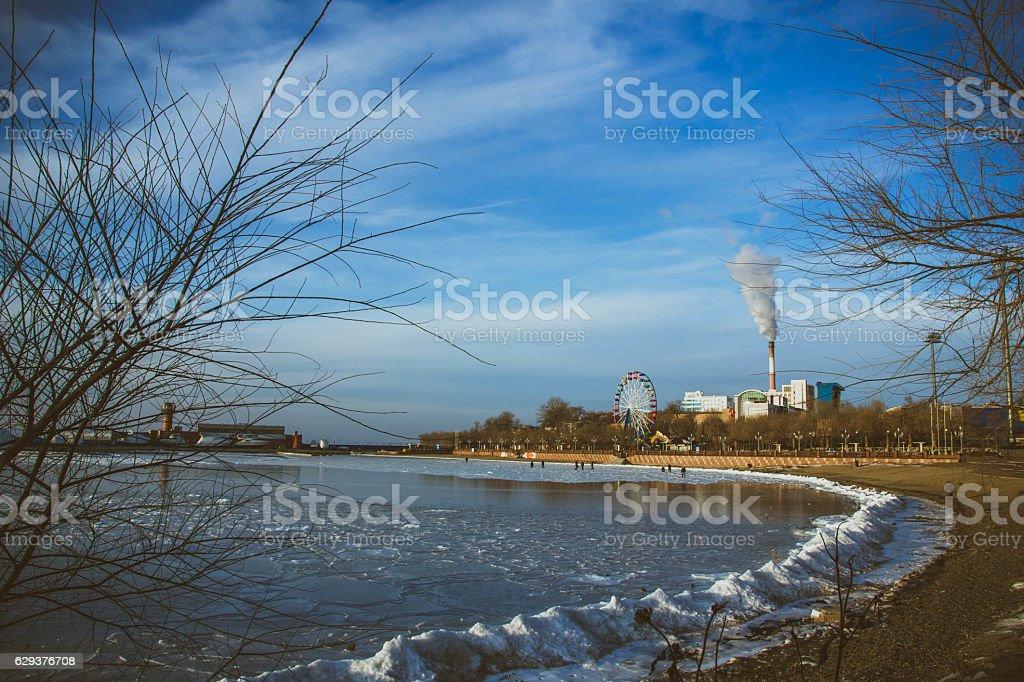 the city of winter sea stock photo