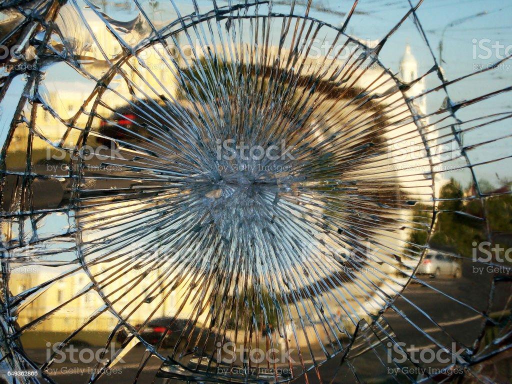 The city reflection in a broken mirror. stock photo