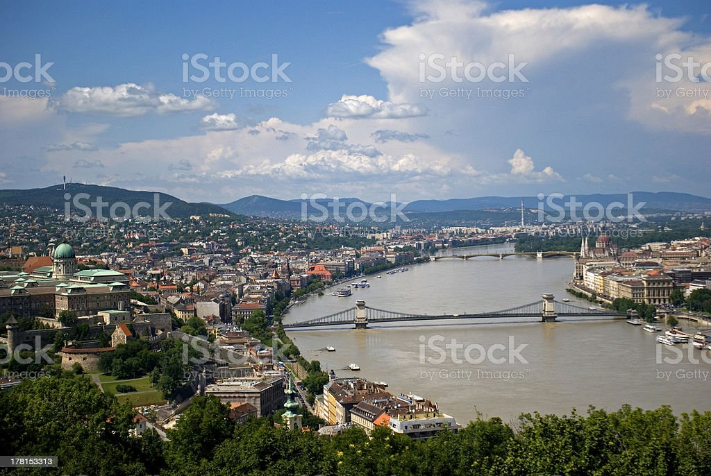 The city seen from Gellert Hill, Budapest, Hungary royalty-free stock photo