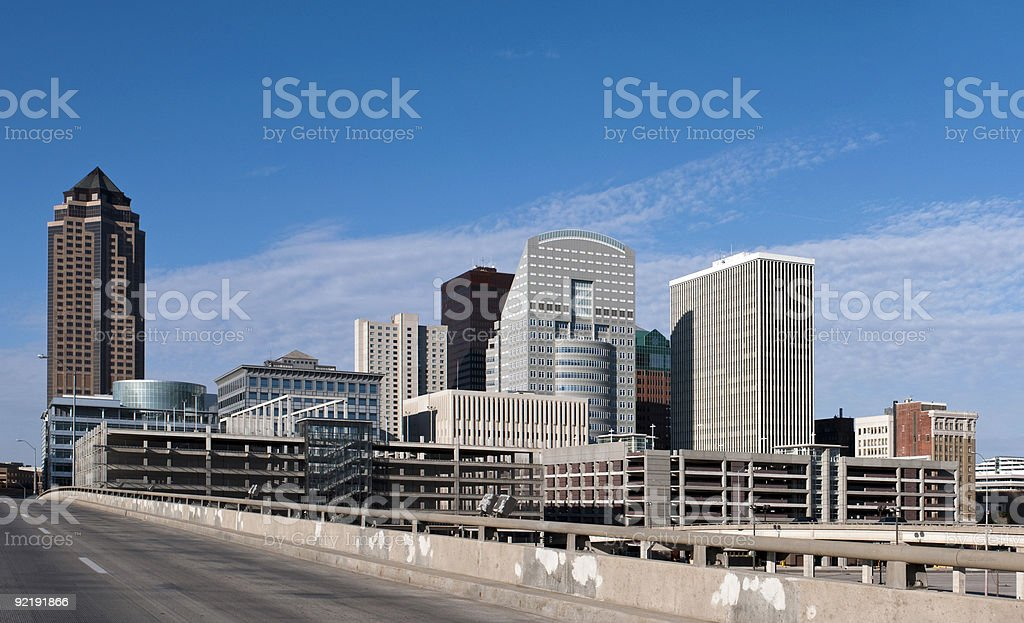The city skyline from Des Moines  stock photo