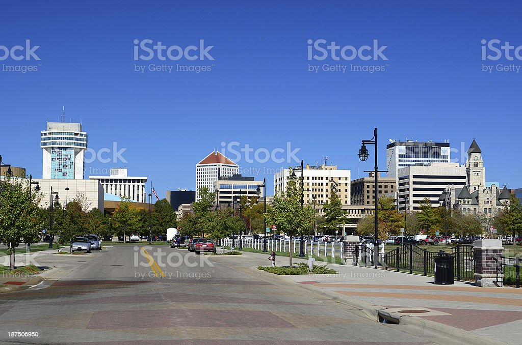 The city skyline of Wichita, Kansas stock photo
