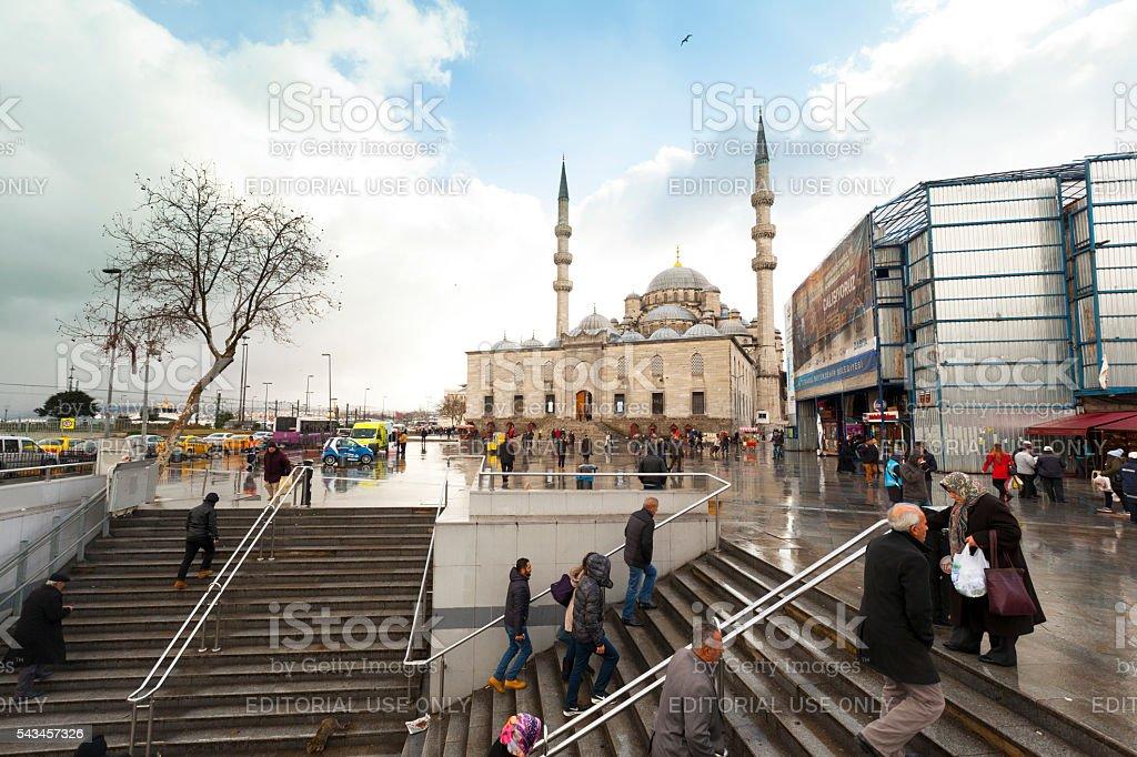 the city square near Yeni Cami in Istanbul,Turkey stock photo