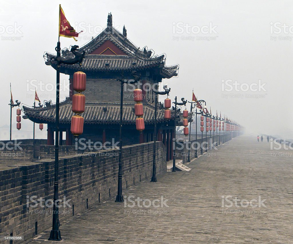 The  City wall of Xian in dense smog stock photo