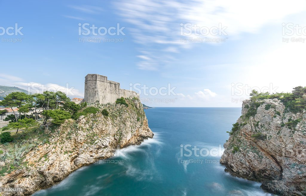 The City Walls of Dubrovnik and the Port of Kolorina stock photo