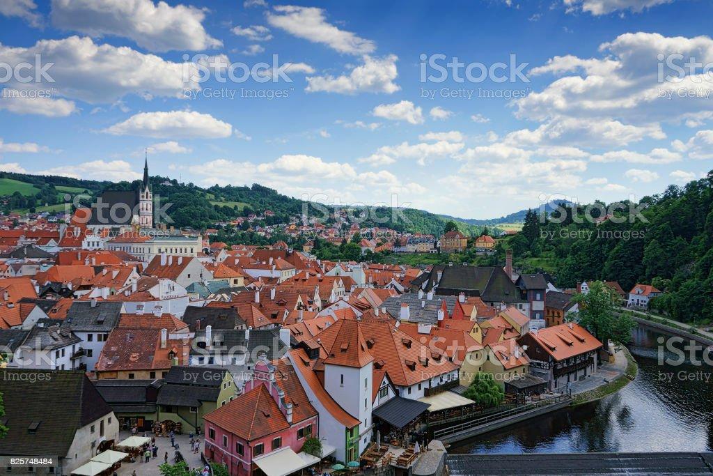 The cityscape image of Cesky Krumlov stock photo