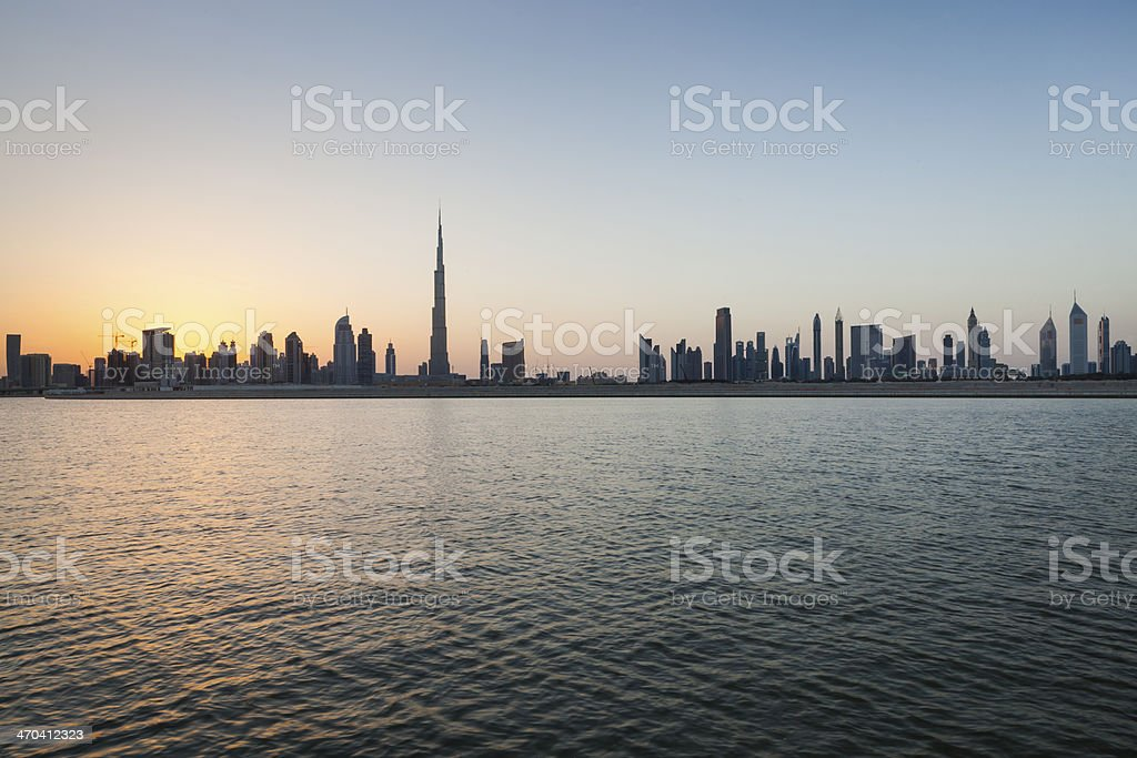 The cityscape of Dubai, India at daybreak stock photo