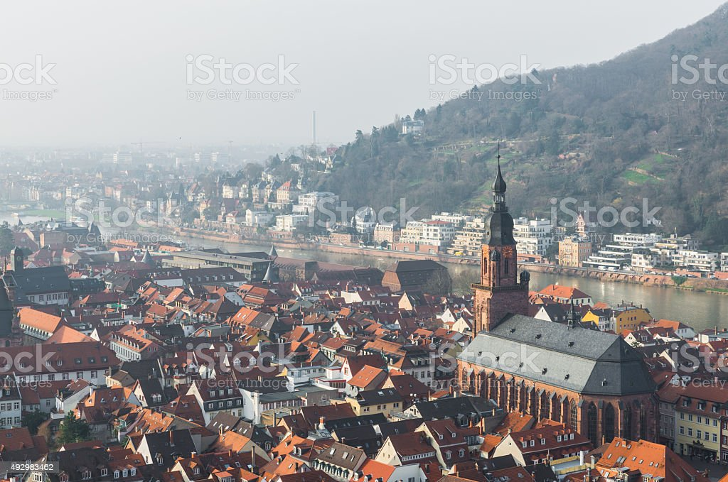 The cityscape of Heidelberg city with River Neckar and Church stock photo
