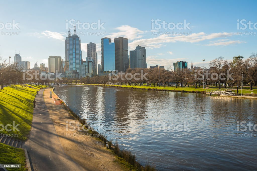 The cityscape of Melbourne the most liveable city in the world, Victoria state, Australia. stock photo
