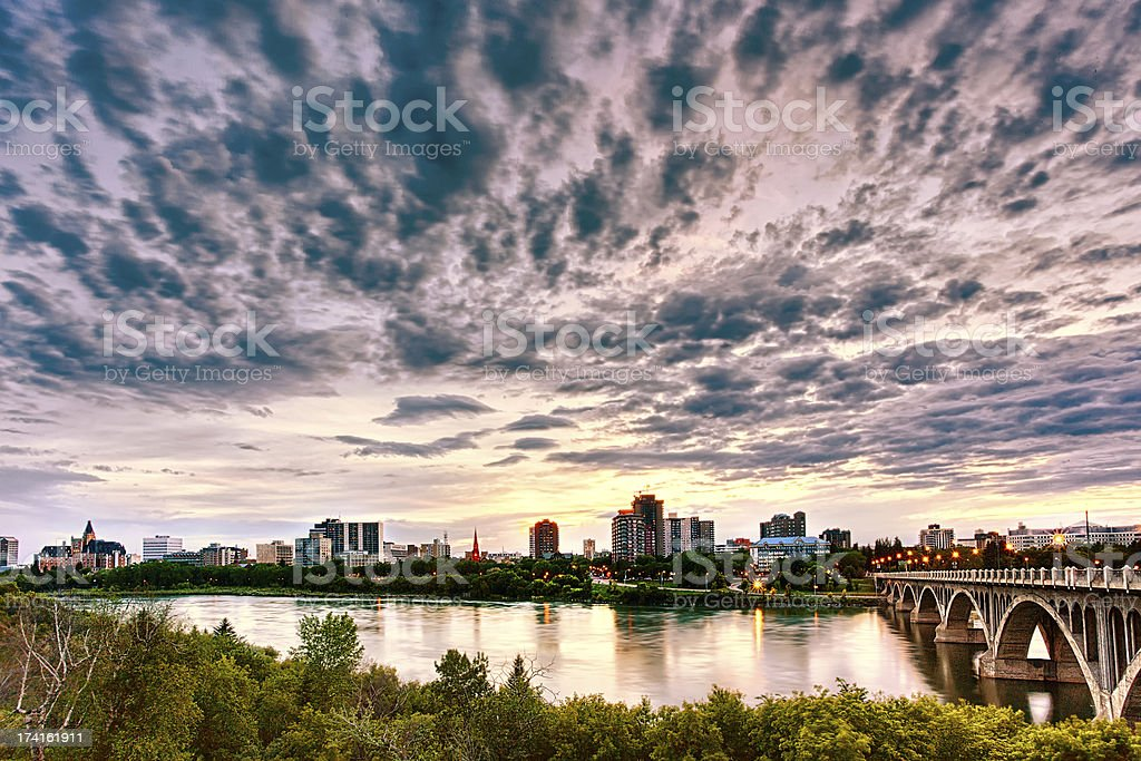 The cityscape of Saskatoon, Canada across the bridge stock photo