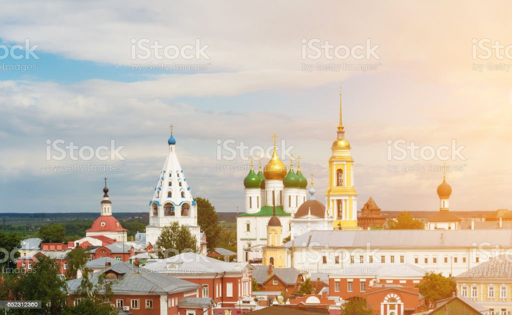 The cityscape of the Kolomna Kremlin on the sky background stock photo