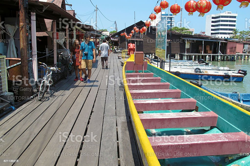 The Clan Jetty local village at George Town World Heritage UNESCO, Penang Malaysia stock photo