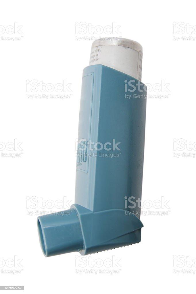 The classic blue asthma inhaler stock photo