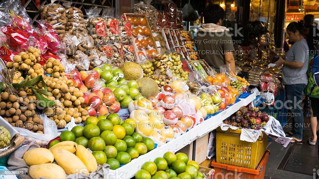 The classic night market on chinatown (Yaowarat) Road. stock photo