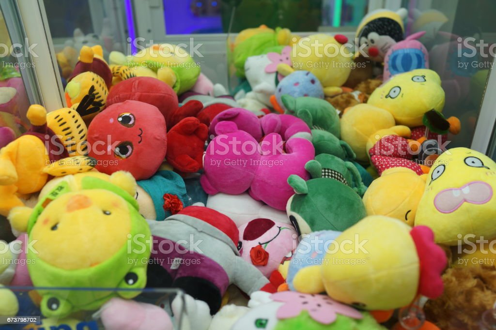 Penang, Malaysia - April 20, 2017: The claw machine in games arcade in shopping mall. stock photo