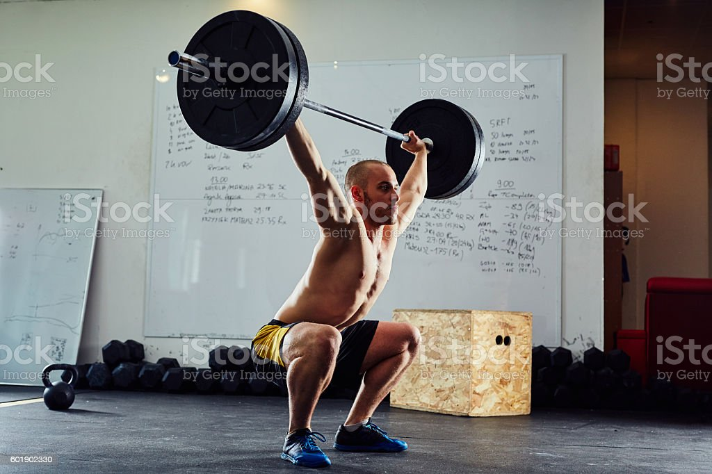 The clean and jerk exercise stock photo