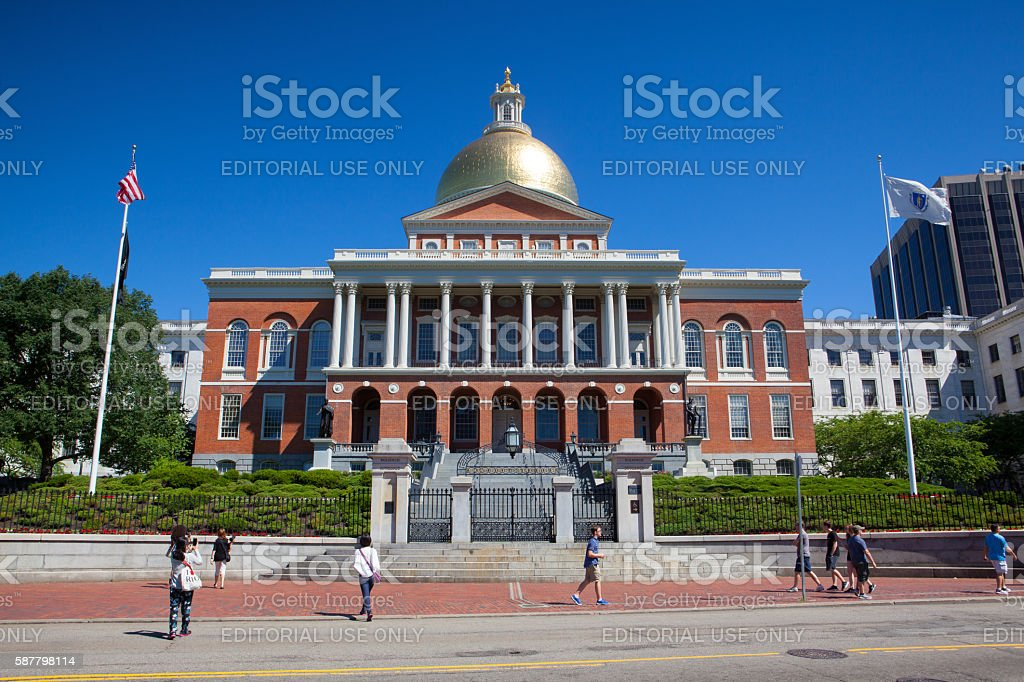The clear picture of the Massachusetts State House stock photo