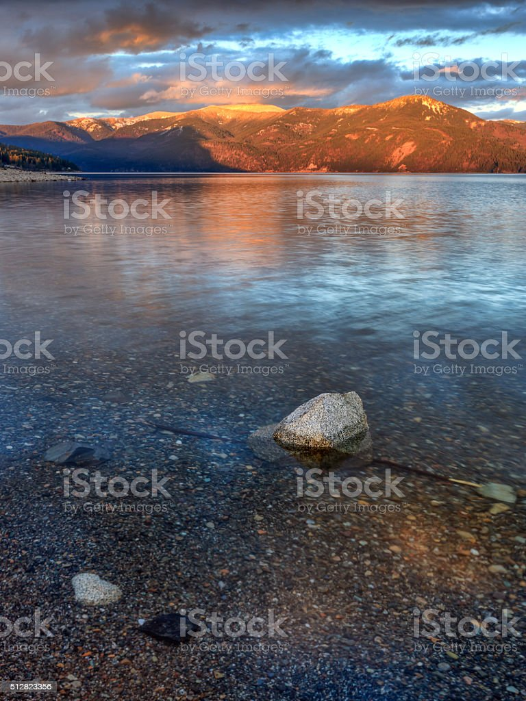 The clear waters of Pend Oreille Lake. stock photo