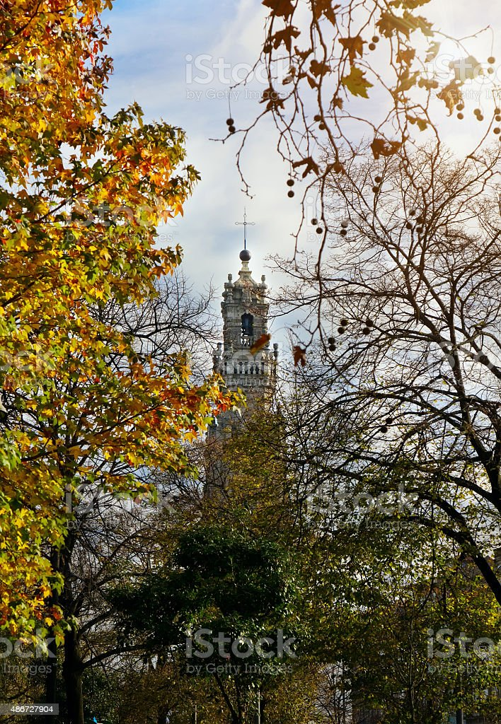 The Clerics Tower (Torre dos Clerigos) in autumn, Porto, Portugal stock photo