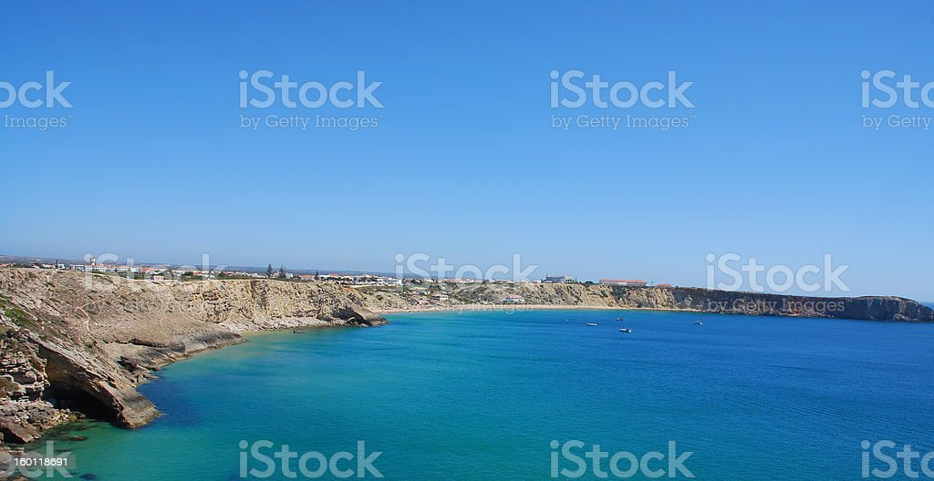The cliffs at coast near Sagres point in Portugal royalty-free stock photo