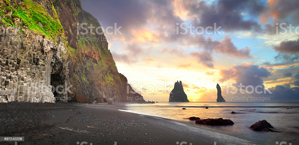 The cliffs at Vik in Iceland by sunrise stock photo