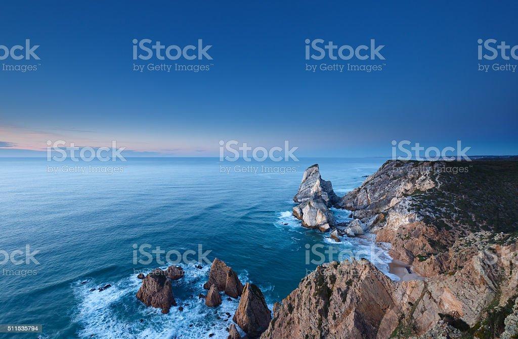 The cliffs of Cabo da Roca, Portugal. stock photo