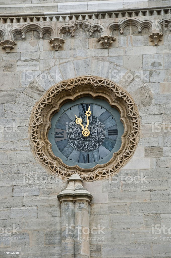 The Clock at St. Stephen's Cathedral in Vienna stock photo
