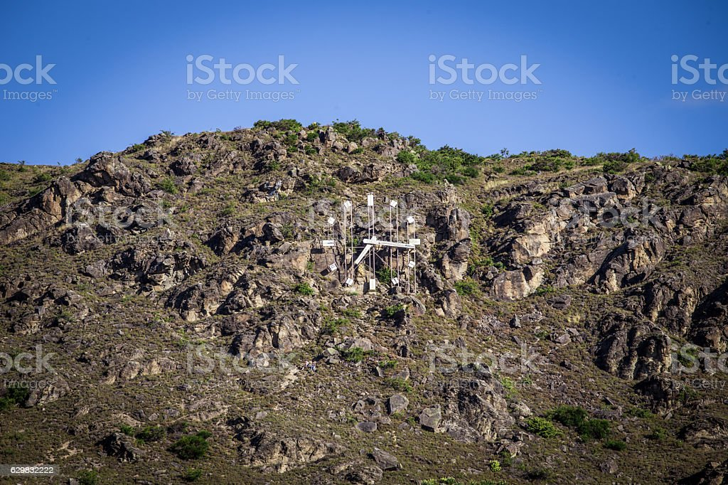 The Clock in mountain in Alexandra, New Zealand stock photo