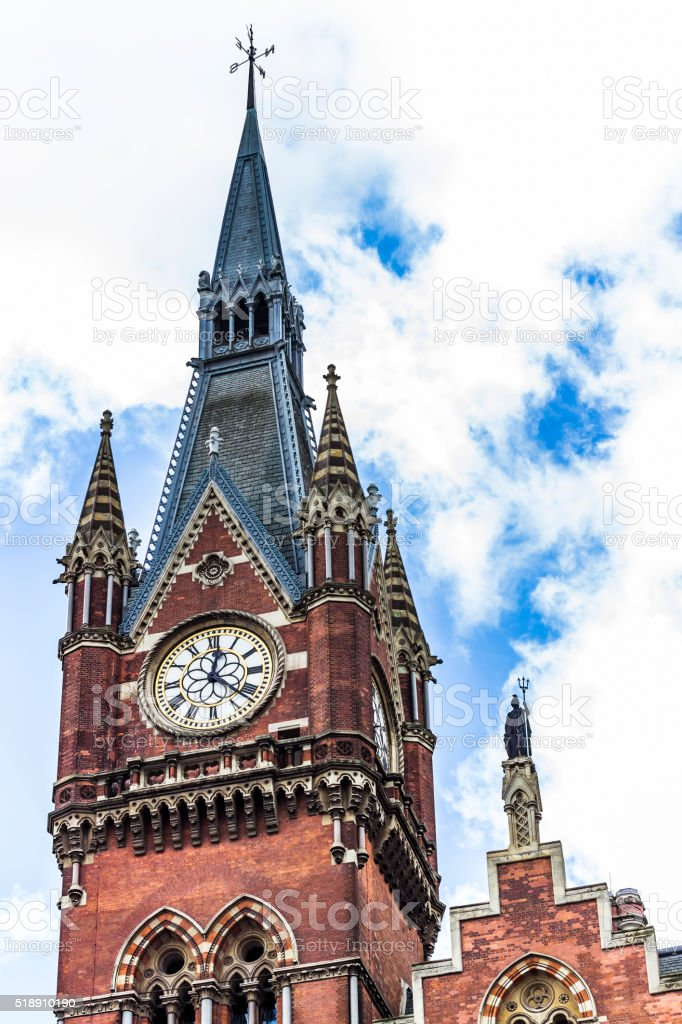 The clock of King's cross St Pancras stock photo
