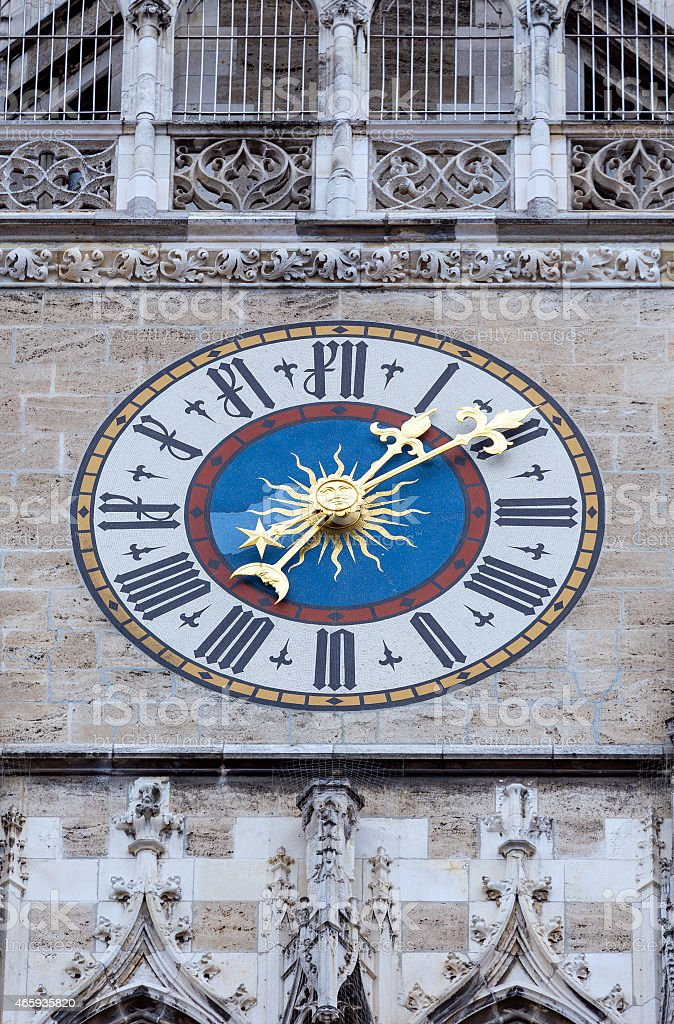 The clock of New City Hall in Marienplatz, Munich, Germany stock photo