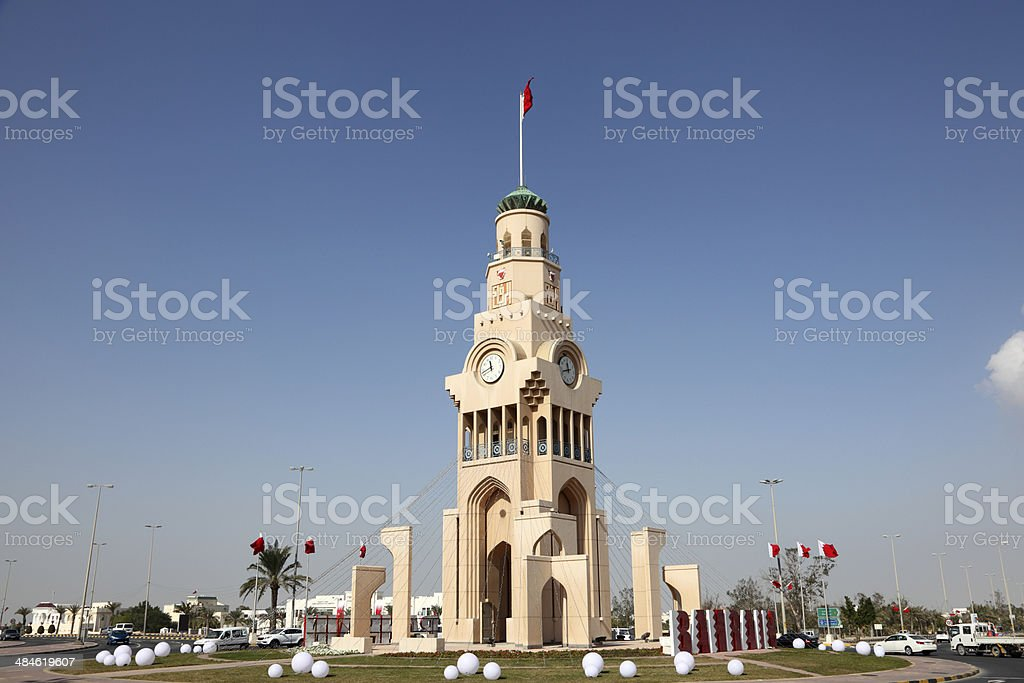 The Clock Tower in Riffa, Bahrain stock photo