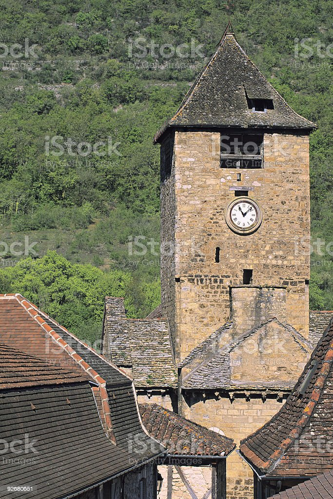 The Clock Tower of Autoire stock photo